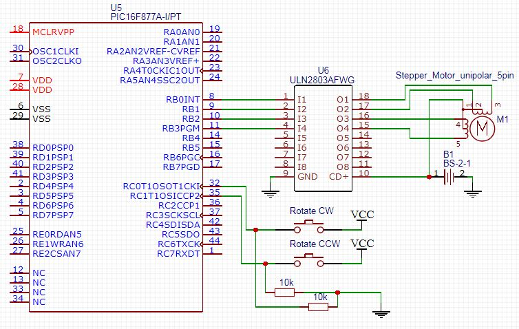 Interfacing Stepper Motors LAB5 Schematic - Microchip PIC Embedded Systems Tutorials