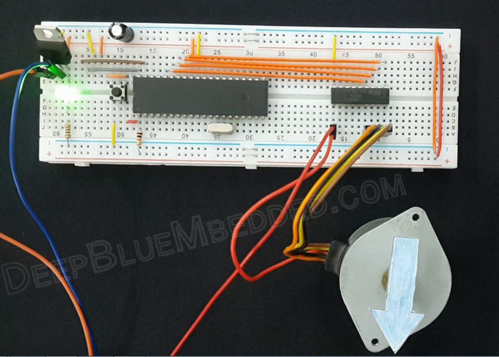 Interfacing Stepper Motors Prototype - Microchip PIC Embedded Systems Tutorials