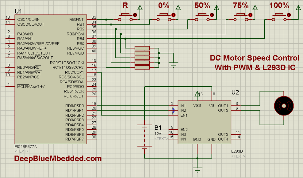 DC Motor Speed Control PWM With L293D Schematic