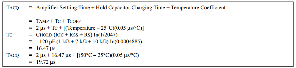 ADC Aquisition Time Calculation Equation