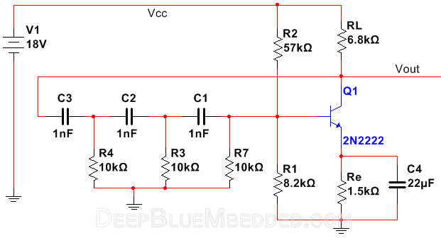 RC Phase Shift Oscillator With BJT 2n2222 Schematic Diagram