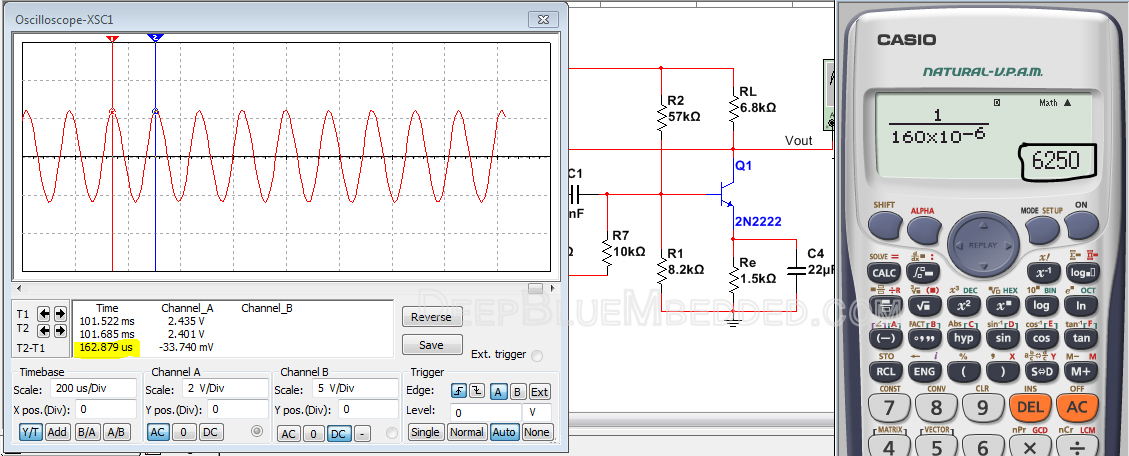 RC Phase Shift Oscillator With BJT 2n2222 Simulation