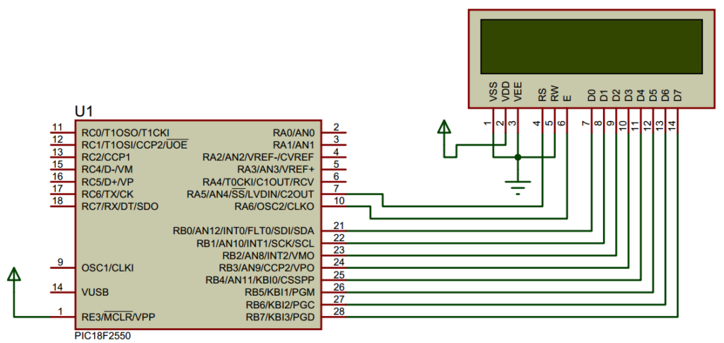 LCD 16x2 Connection With Microcontroller 8-Bit interface