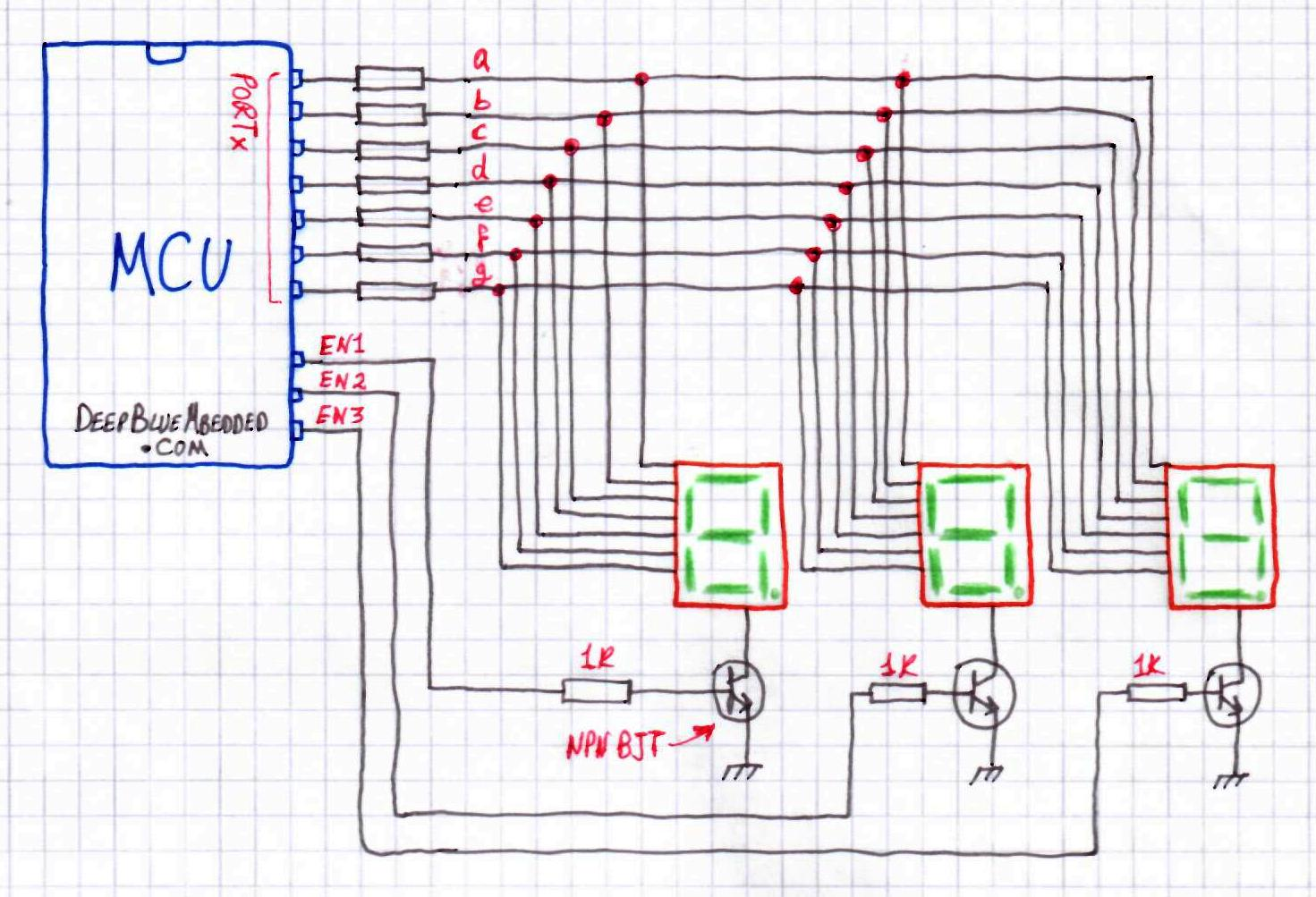 3 Digit 7-Segments Multiplexing Driving With Microcontroller