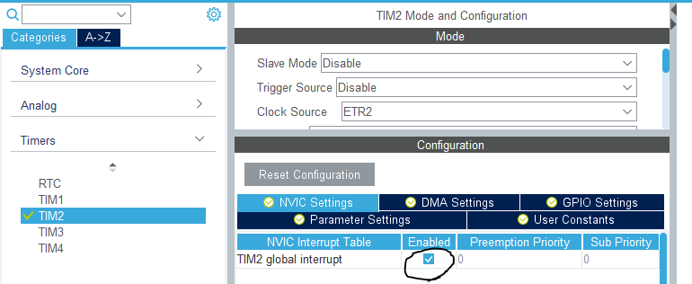 STM32 Counter Mode Interrupt Example HAL Code - Timer Module Counter Mode Frequency Counter
