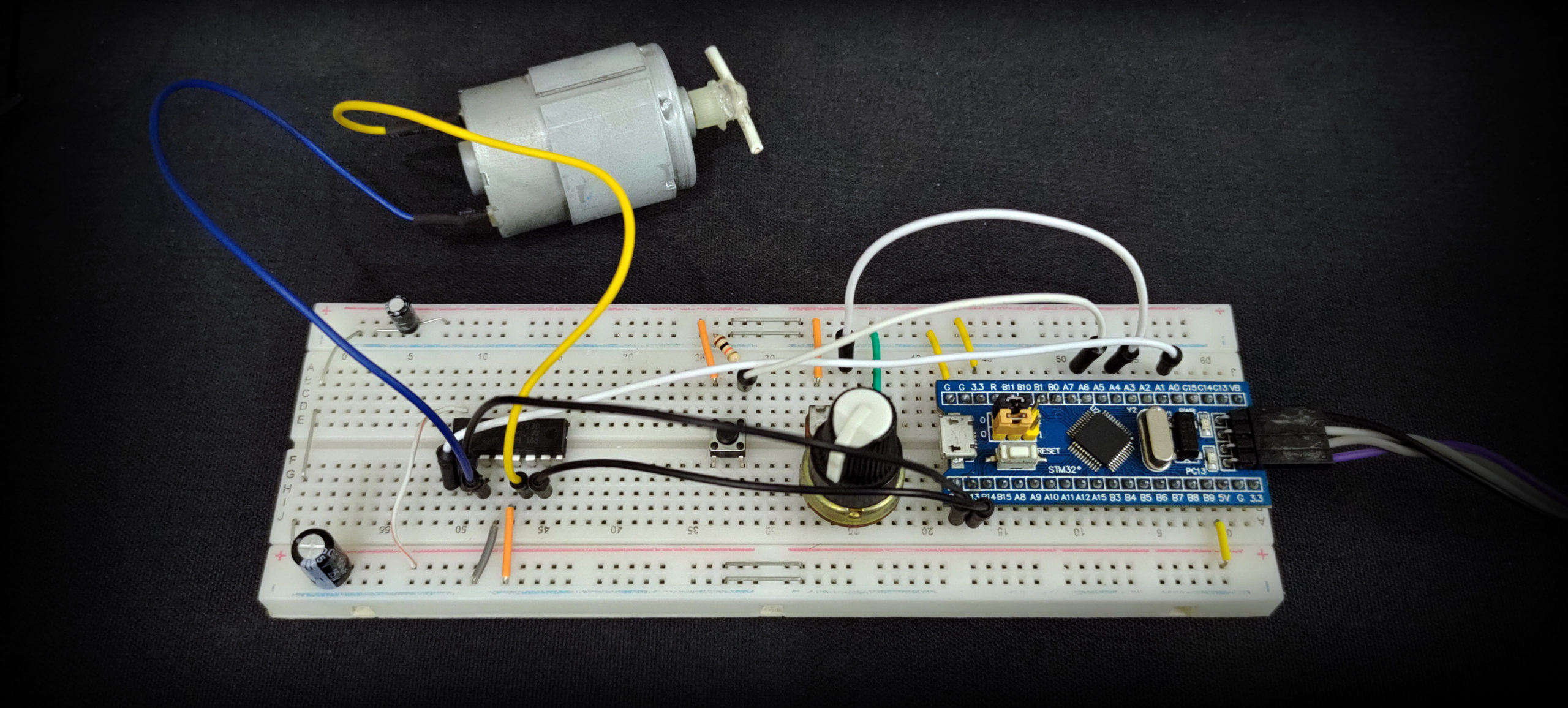 STM32 DC Motor Speed Control With L293D Example Wiring